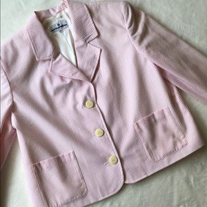 Saks Fifth Avenue pink/white seersucker blazer